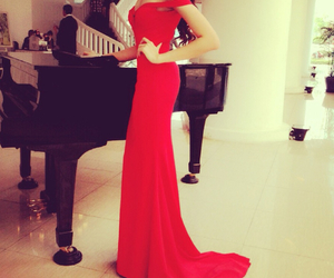 dress, red, and piano image