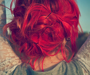 bobby pins, dyed hair, and red hair image