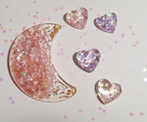 pink, moon, and glitter image
