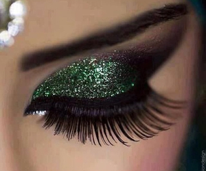 green, glitter, and makeup image