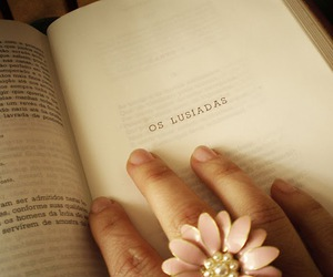 book, flower, and ring image