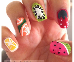 nails, fruit, and strawberry image