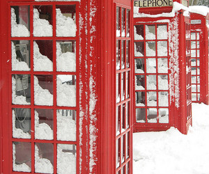red, london, and snow image