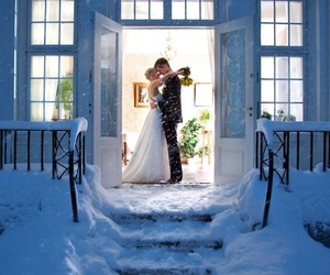 love, wedding, and snow image
