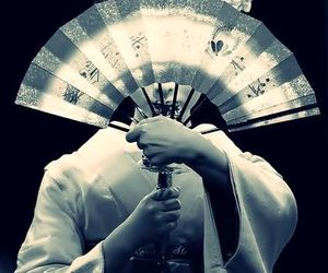 geisha, japan, and fan image