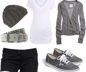 outfit, vans, and white image