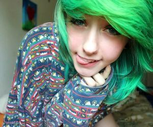 girl, green hair, and cute image