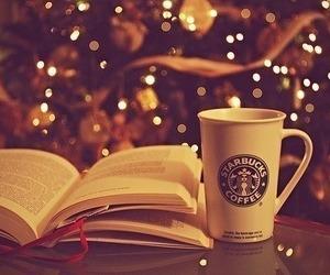 book, starbucks, and christmas image