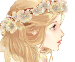 cute, anime, and flowers image