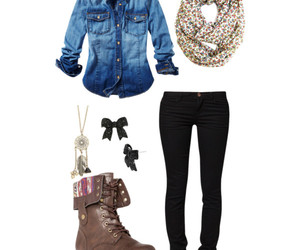 combat boots, denim, and love this image