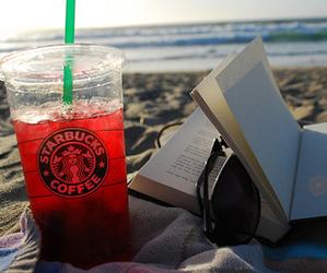 starbucks, book, and beach image