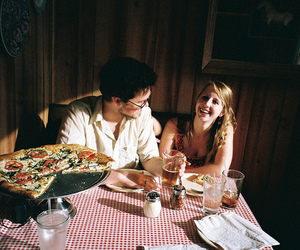 couple, pizza, and smile image