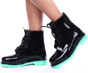 combat rain boots, jelly rain boots, and lace up rain boots image