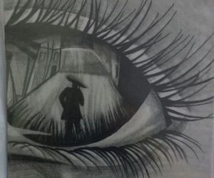 crying, draw, and eye image
