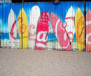 beach, surf, and coca cola image