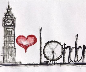 Big Ben, heart, and london image