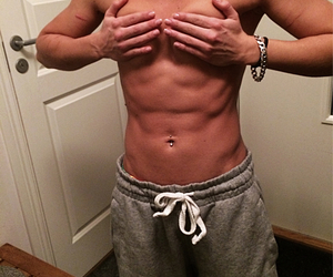 abs, flex, and girl image