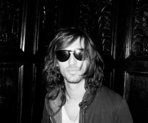 black and white, nick valensi, and glasses image