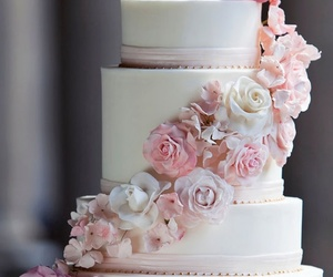 heart, roses, and wedding cake image