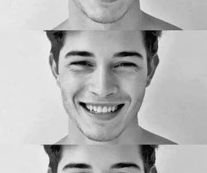 black and white, boys, and smile image