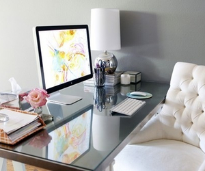 room, desk, and office image