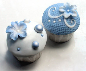 blue, cupcake, and flowers image