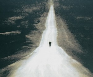 alone, road, and black and white image
