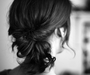 black and white, updo, and girl image