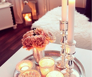 candle, flowers, and home image