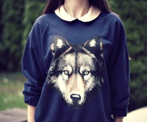 girl, wolf, and fashion image