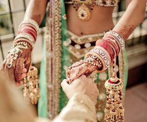 bangles, wedding, and indian bride image