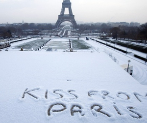 paris, kiss, and snow image