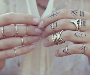 tattoo, rings, and hands image