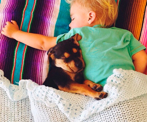 baby, friends, and dog image