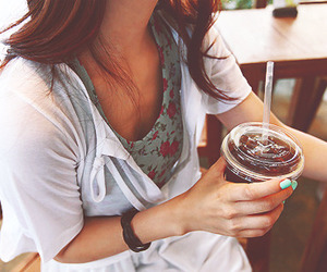 girl, fashion, and drink image