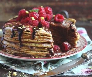 cake, nutella, and raspberry image