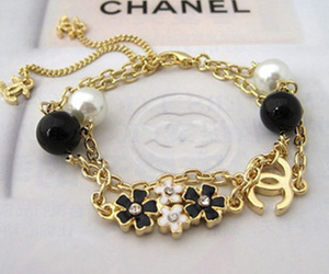 chanel, bracelet, and flowers image