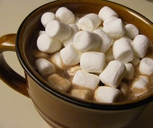 marshmallow, hot chocolate, and food image