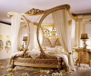bedroom, bed, and gold image