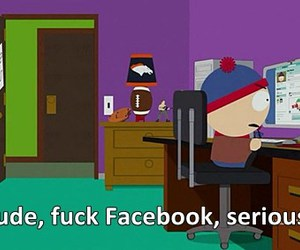 facebook, South park, and fuck facebook image