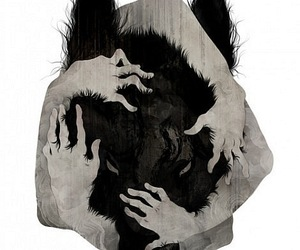wolf, hands, and art image