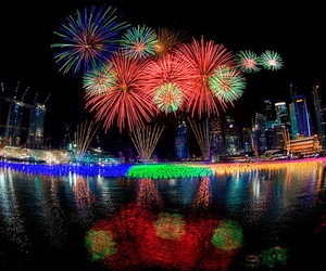 city, fireworks, and night image