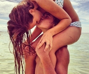 amour, beach, and couple image