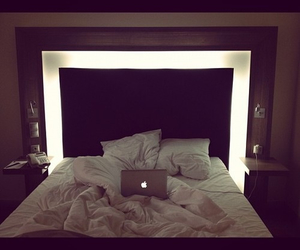 bed, enjoy, and laptop image