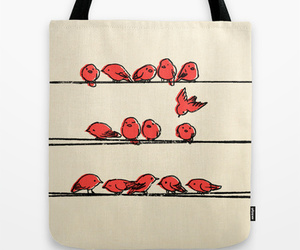 birds, red, and vintage image