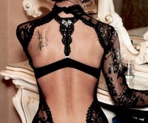 backless, lace, and black image