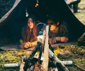 fire, couple, and camping image