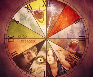 catching fire, the hunger games, and clock image