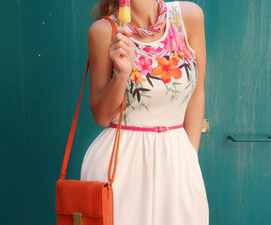 dress, flowers, and girly image