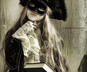 book, girl, and mask image